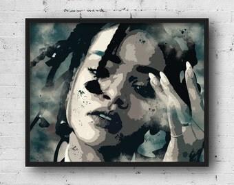 Rihanna poster, Rihanna print, Rihanna instant download, Rihanna wall art, Rihanna printable, Artist poster, Music poster, Rihanna print