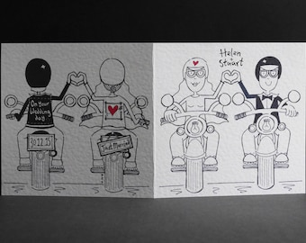 Motorbike Wedding Card, Biker Wedding Card, Motorcycle Wedding Card, Bride and Groom Bikers Wedding Card. Please read item details.