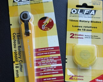 Olfa Set Rotary Cutter Plus 2 Replacement Blades 18mm Olfa Rotary Cutting Tool 2 Olfa 18mm Replacement Blades New In Original Packages