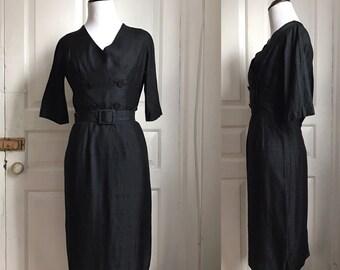 Vintage 1950s / 50s Jane Murray Original Black Crepe Wiggle Dress