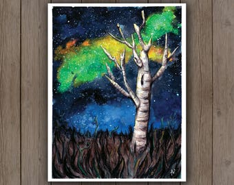 Watercolour Art Print - Birch Tree with Galaxy / Grassy Field / Space / Handpainted Watercolor Painting / Landscape Art