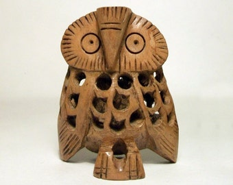Carved Wooden Owl Hollow Figurine Vintage Lattice Work Pregnant Bird Smaller Owl Inside Within