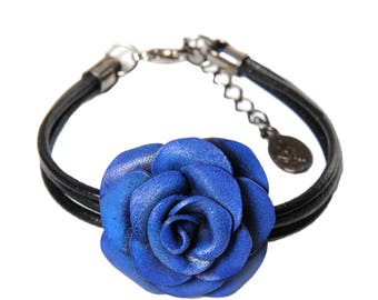 Bracelet Blue rose flower in flower calfskin