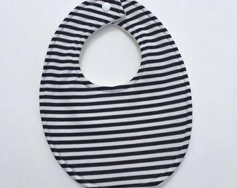 Black and White Bib, Gender Neutral Baby Bib and Burp Cloth Set, Striped Bib, baby shower gift, baby shower gift set