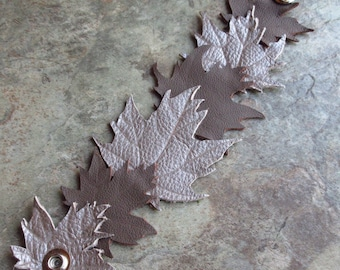 Leather Cuff Maple Leaf Bracelet, Hand Tooled Leather Jewelry Accessory
