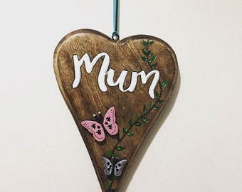 Mothers Day Gift, Gift for Mum, Wood Heart, Hanging Heart, Painted Heart, Personalised Heart, Personalised Gift, Butterfly Picture