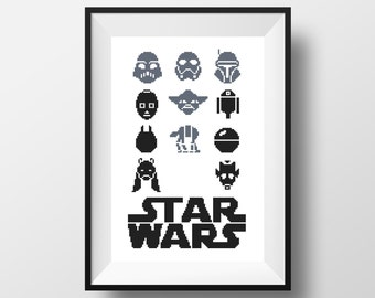 Star Wars Cross Stitch Pattern Minimalist design R2D2 3Po Yoda cross stitch modern Darth Vader cross stitch PDF Boba Fett Clone Walker Robot
