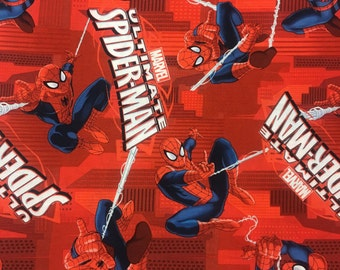"Spiderman Large print fabric, By the Half Yard, 44"" wide, cotton"