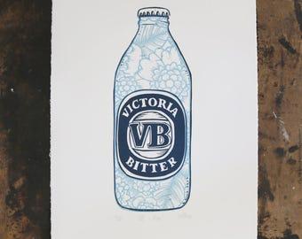 VB -  Blue - Original Artwork Lino Relief Print Limited Edition Blue Printmaking Australian Art Handmade Australia Victorian Bitter