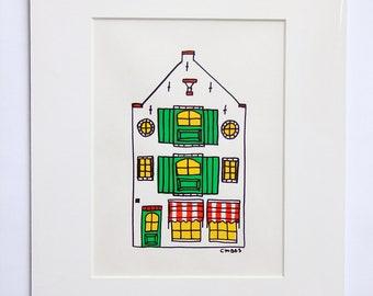 House 'Grote Sint Jansstraat' Acryl Paint Drawing Architecture Amersfoort