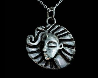 Silver Pendant, silver necklace, pagan symbol, moon goddess, pagan jewelry, 3d printed pendant, 3d printed jewelry, pendant with face