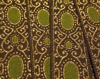 Green, Black,  and Gold Metallic Ribbon Trim