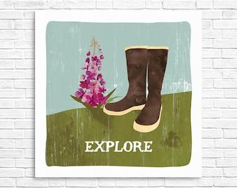 Explore w/ Fireweed Print