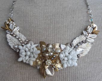 Vintage repurposed collage bib necklace, white, silver gold tone enamel.