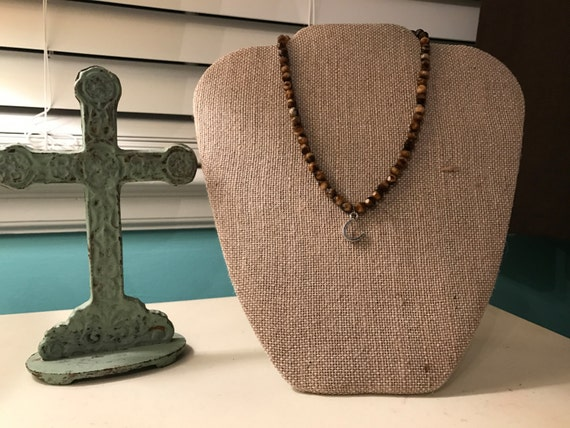 Brown Beaded Choker with Horseshoe or Lotus Flower Charm