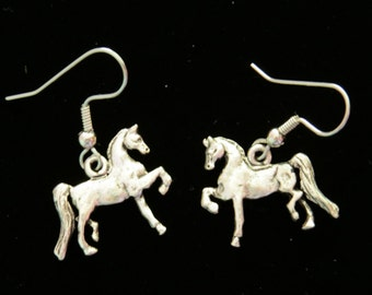 Horse Pony Trotting Earrings Colt Oxidized Matte Silver ES232