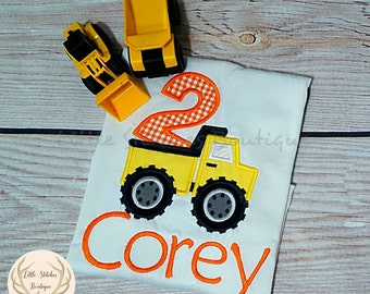Second (2nd) Birthday Embroidered Construction Dump Truck Shirt