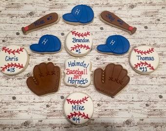 Decorated Sugar Cookies/ Sugar Cookies/Favors/ Baseball Birthday/ Baseball Sugar Cookies/ Baseball Favors