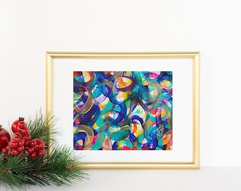 """Original 5"""" x 7"""" Abstract Paintings: Celebration Collection I 8 x 10 mat"""