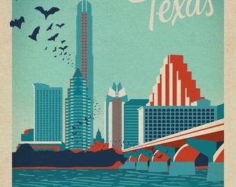 Austin, Texas Congress Ave Bridge Downtown Bats Skyline Canvas Wall Print Gallery Style Decor Beautiful Vintage Travel Pop Art Artwork Decor