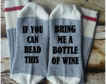 wine socks,  bring me wine, gifts for her, Wine drinker gift, Birthday gift, mommy sock, socks for mom, if you can read this, teacher gift
