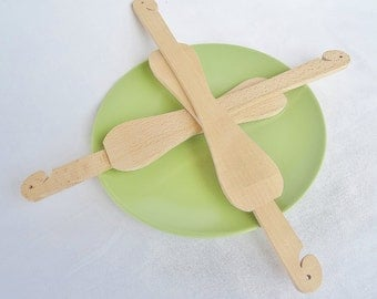 Spatula in natural beech wood set of 2