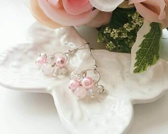 Pink cluster earrings, rose quartz earrings, crystal earrings, dangle earrings, jewellery gifts, gifts for her, mixed pink earrings