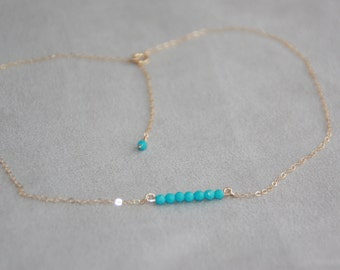 Turquoise bar necklace. 14K gold filled necklace with small natural gemstone. Dainty Necklace. Layering Necklace. Minimalist.  Mother's day