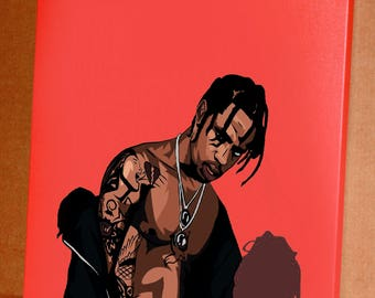 Canvas Travis SCOTT, pop-art, picture print on cloth, art, hip-hop, paints, interior decoration / poster / *watermark will be removed