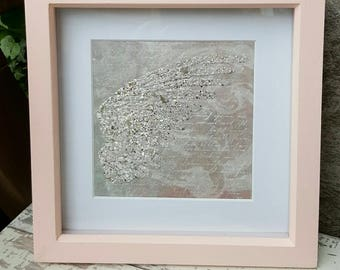 Mixed media Encrusted Sparkly Angel Wing Memorial Keepsake Remembrance framed piece of Artwork