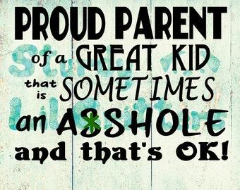 PROUD PARENTS - great kid - great kids - but an asshole kid KIDS - and that's ok!!! Vinyl Car Decal - Bumper Sticker - Proud Grandparents