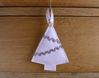 Felt Tree Hanging Christmas Decoration White