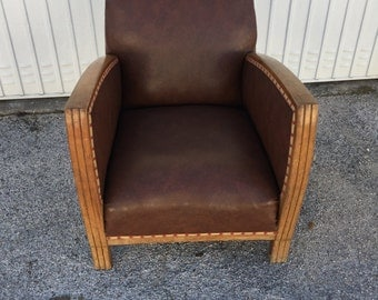 Chair Art Deco wooden massif and skai