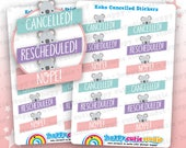 12 Cute Koko the Koala Cancelled/Rescheduled/Nope Planner Stickers, Filofax, Erin Condren, Happy Planner, Kawaii, Cute Sticker, UK