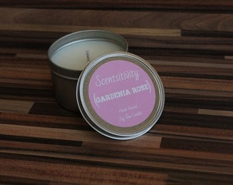 Gardenia Rose Hand Poured Soy Wax Candle 8oz.