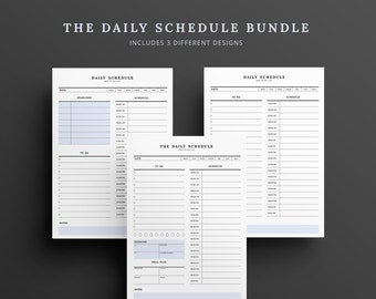 Daily Schedule Hourly Planner BUNDLE Daily Planner Printable To Do List Agenda A4 A5 Letter Organizer Instant Download 2016 Daily Schedule