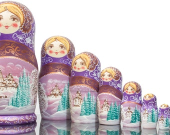 """Russian Nesting Doll - VERY BIG SIZE - 10 dolls in 1 -  """"Winters Tale"""" design - Purple Color - Hand Painted in Russia"""