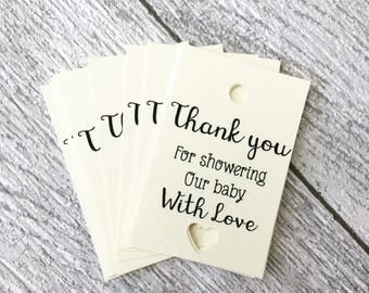 10 Baby shower tags, favour tags, baby shower, thank you tags, thank you for showering our baby with love, tags, handmade tags, baby tags