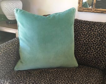 "20"" Teal Velvet Decorator Throw Pillow Cover Cushion Cover with Piping and Hidden Zipper 20x20 Luxurious Velvet Fabric Samples Available"