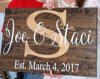 Wood sign, Name and wedding date sign, Custom signs, Personalized sign, Wedding sign, Wedding gift, Rustic wedding