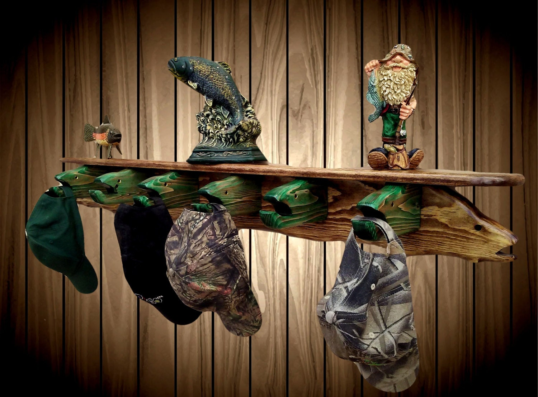 Wood Fish Coat Hat Rack Shelf 6 Fish Head Hangers Display