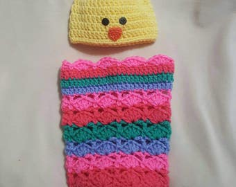 Easter egg and baby chick newborn cocoon set.