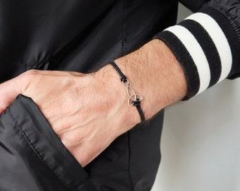trinity cord bracelet, trinity bracelet, bracelet for men, men's trinity bracelet, black cord, trinity charm, celtic knot, spiritual jewelry