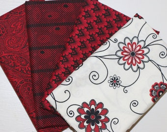 SALE - 4 Fat Quarters - red, black and white - cotton fabric