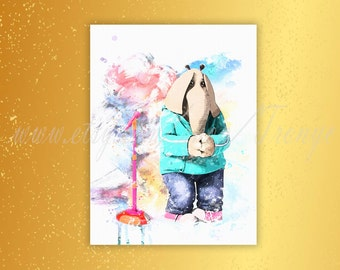 SING movie Meena, watercolor poster, Meena a teenage elephant, Meena print, Tori Kelly, SING Meena poster, kids room party decorations, T124