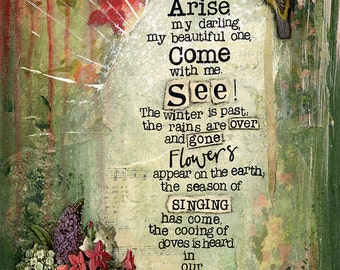 A4 Fine Art Print of 'Arise, my darling, my beautiful one, come with me' Song of Songs 2:10-12 - from an original painting by Karen Lindsay