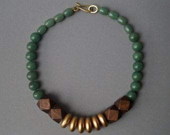 Necklace of jade and wood / jade - wood - brass chain / gift for you