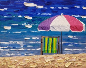 Original Palette Knife Oil Painting 11x14, Fine Art on Canvas, Beach Theme, Marine, Beach Chair and Umbrella, by Artist Ryan Kimba