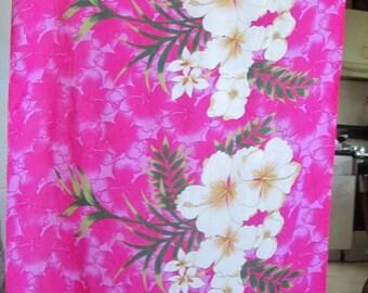 Vintage Hot Pink with Hibscus Pareau   /   Sarong  /  Wrap