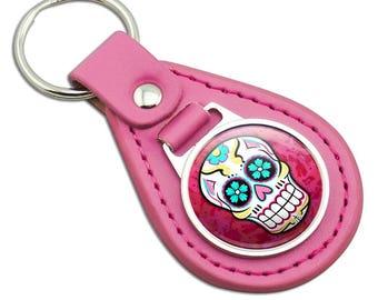 Sugar Skull Pink Leather Metal Keychain Key Ring